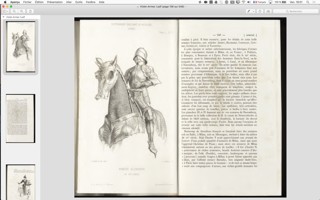 Double page du dictionnaire de Viollet-le-Duc.
