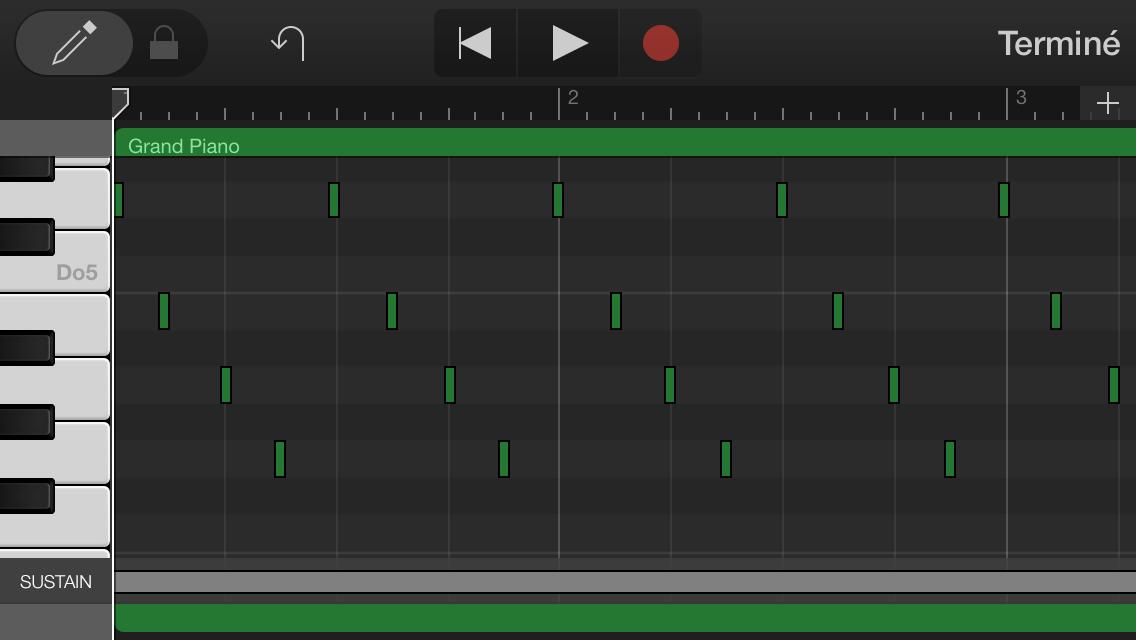 *L'éditeur de piste MIDI de* GarageBand