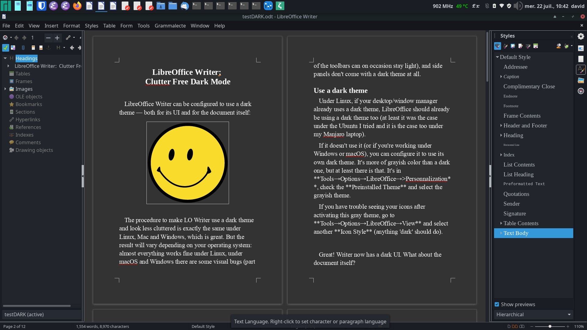 LibreOffice Writer in dark mode, with panels displayed and two pages view