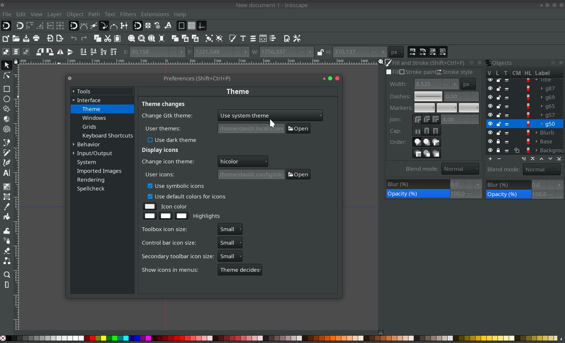 Inkscape theme & appearence settings