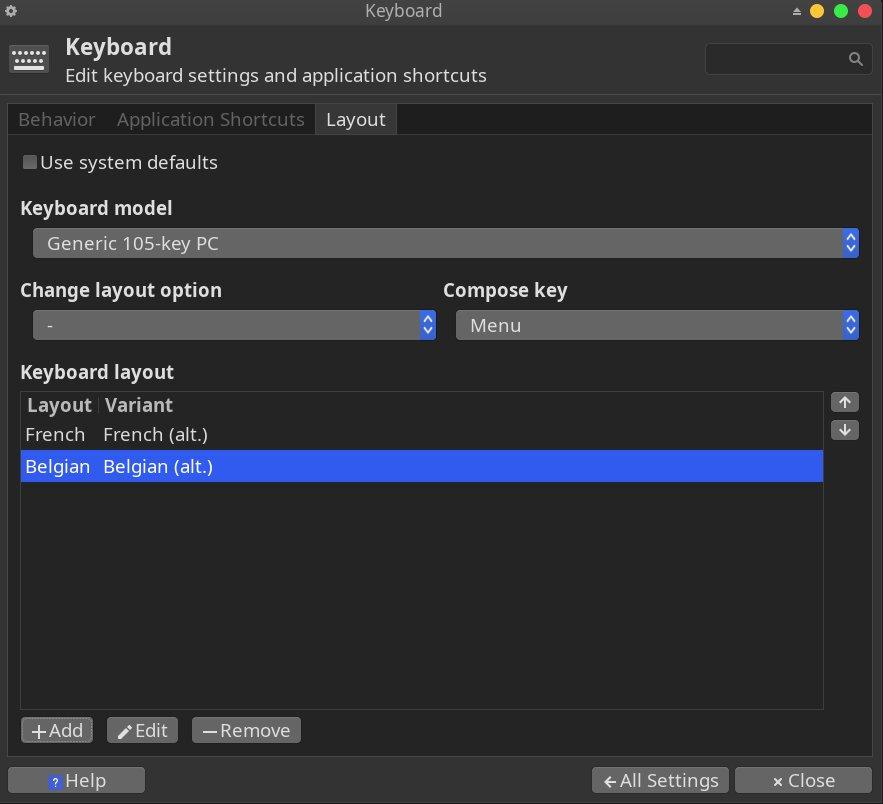 Panneau de configuration du clavier sous XFCE